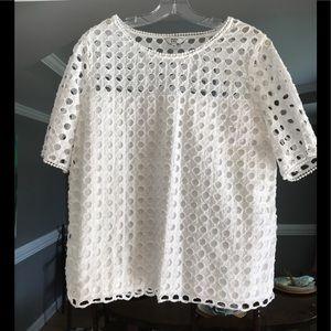 Cute White Crown & Ivy cotton blouse